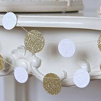 Glitter Paper Garland, Gold and White, Bridal Shower, Baby Shower, Party Decorations, Birthday Decor