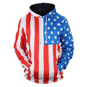 American Flag Men Women Thin Sweatshirt Pullover 3d Print Stars Striped USA Hoodie Unisex