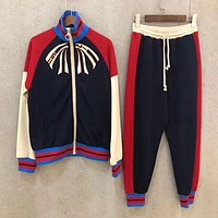 GUCCI Popular Casual Print Zipper Bowknot Pants Trousers Set Two-piece Sportswear