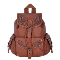 Zlyc Women's Casual Black Faux Leather Backpack (Brown)