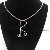 Silver Initial Necklace R silver wire wrapped hammered initial charm necklace pendant personalized