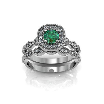 Art Deco Antique Style Halo Created Emerald Silver Wedding Engagement and Anniversary Ring Set