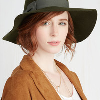 Boho Film Noir and Again Hat in Moss by ModCloth
