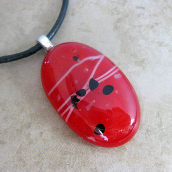 Red Fused Glass Necklace Red Fever Jewelry by mysassyglass on Etsy