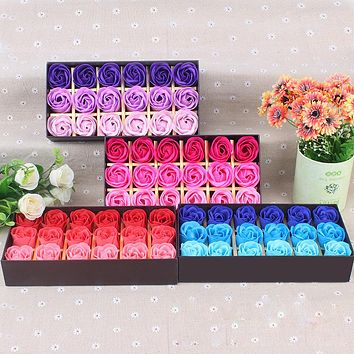 18Pcs  Scented Rose Flower Petal Bath Body Soap Wedding Party Surprise Gift Heart Scented Petal For Valentine's Day dropship
