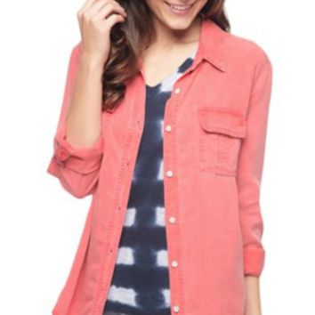 Splendid Laguna Tencel Long Sleeve Shirt | Vintage Fusion Coral | SALE