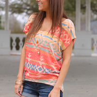 Ethnic Envy Top, Orange Multi
