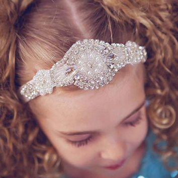1PCS Retail 12COLOR Girls headbands Rhinestone flowers with elegant Headbands children hair accessories