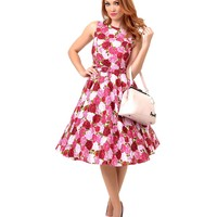 1950s Style Pink Rose Garden Floral Mercedes Belted Swing Dress