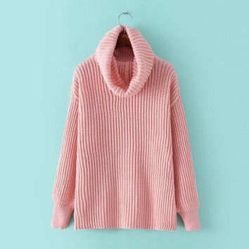 Lapel Pullover Loose High Collar Solid Sweater
