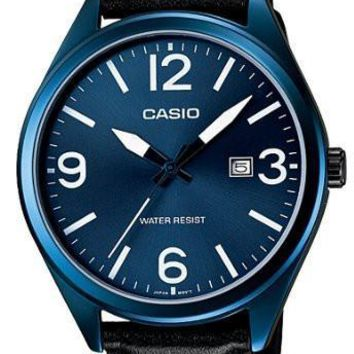 Casio Mens Blue IP Leather Strap Fashion Analog Watch