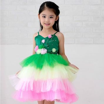 Fashion green and pink rainbow flower fairy costume for girls birthday cupcake layered dresses