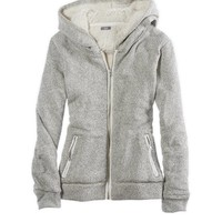 AERIE FUZZY & PLUSH ZIP UP HOODED SWEATSHIRT