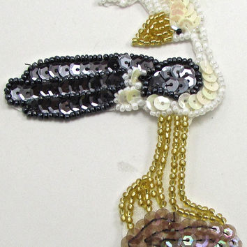 "Roadrunner bird with black and white sequins 3 7/8"""" x 3"""