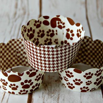 Paw Print Cupcake Wrappers, Reversible Cake Wraps,  Dog Cupcake Decoration (set of 6)