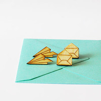 Set Of Paper Plane And Envelope Stud Earrings