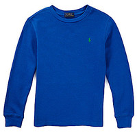 Ralph Lauren Childrenswear 2T-7 Waffle-Knit Henley Tee - Pacific Royal