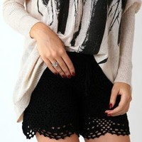 Black High Waisted Hand Knit Crochet Shorts