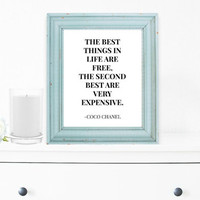 Coco Chanel Wall Decor, Art Print, Typography Wall Art, Motivational Print, Inspirational Poster, Teen Gift Ideas, Shabby Chic - PT0055