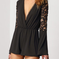 Black Lace Playsuit Deep V Neck Romper