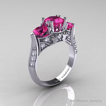 Nature Inspired 14K White Gold Three Stone Pink Sapphire Diamond Solitaire Wedding Ring Y230-14KWGDPS