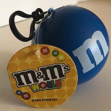 M&M's Blue Character Rain Poncho Ball One Size New with Tags