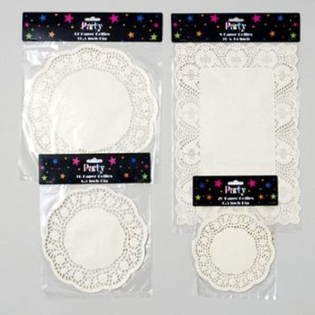 White Paper Doilies - Round and Rectangle - CASE OF 144