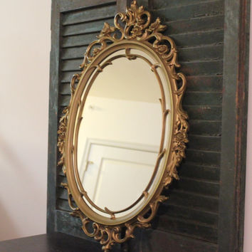 Vintage gold Syroco oval mirror, Hollyood Regency decor, ornate mirror, gold decor