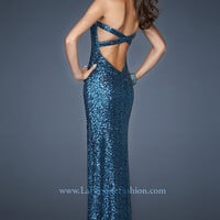 Open Back Strapless Sequin Gown