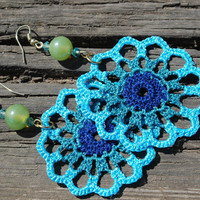 Crocheted Turquoise Earrings