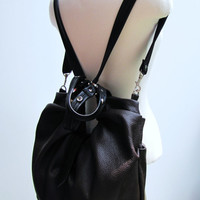Dark Brown Leather Satchel, Shoulder bag, Handheld bag, Commuter bag, Backpack purse, Cross body bag