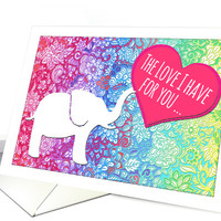 Happy Valentine's Day - cute elephant with heart, rainbow doodles card