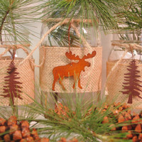 Moose Lodge Trio of Mason Jars with rusty tin moose and pine trees with burlap wrap