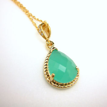 light blue green mint opal quartz crystal teardrop pendant necklace with gold filled chain - Free US shipping