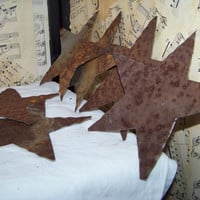 6 Rusty Tin Stars--Hand Cut--Tin Can Lids--Natural Rusty Patina--Country--Primitive--Rustic--Craft Supply--Salvage Art Decor--Weathered Star