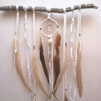 crystal child ... a bohemian dream catcher  // lace, leather, ready to ship, oak, spirit tribe, dreamcatcher, boho, home decor, white, gift