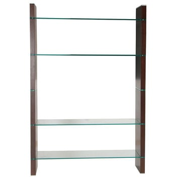 """80"" Glass TV Stand Bookcase or Room Divider Java Veneer"""