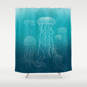 Jellyfish Shower Curtain by Carl Conway