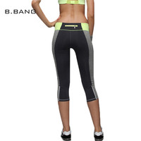 B.BANG Women Leggings Casual Aerobics Leggings Elastic Slim Pants Patchwork Quick Dry Capris Leisure Workout leggings 4 Colors