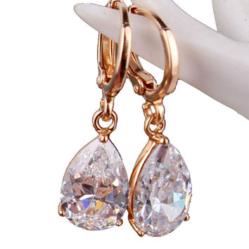 2016 Fashion Ladies Long Teardrop Dangle Earing 18k Gold Plated Women Crystal Drop Earrings Ear CZ  Zircon Wedding Jewelry E010
