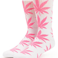 """We get it, you smoke"" Weed Leaf Socks White/Pink"