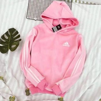 DCCKNQ2 ADIDAS Women Fashion Velvet Hoodie Top Sweater Pullover