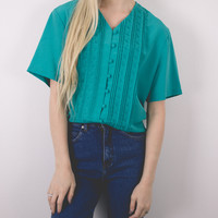 Vintage Turquoise Short Sleeve Button Up Blouse