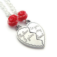 Split Heart Necklace Set ~ Half Heart Necklaces, Girlfriend Gift, Best Friends Necklace Set, Hers and Hers, Long Distance Friend, Other Half