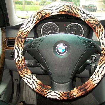 Tan and Brown Triger Steering Wheel Cover