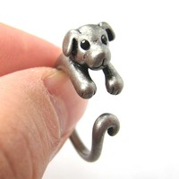 Puppy Dog Animal Wrap Around Ring in Silver - Sizes 4 to 9 Available