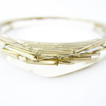 Resin BANGLE GOLD brass NAILS. Resin bracelet.luxury chic cuff