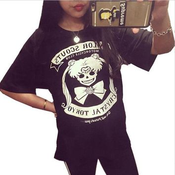 Tops and Tees T-Shirt anime Sailor Moon harajuku Gothic Tsukino Usagi skull punk T Shirt t-shirt Top tee costume AT_60_4 AT_60_4