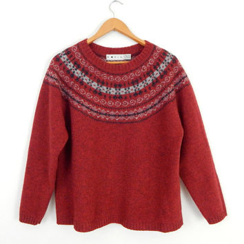 Vintage Oversize Fair Isle Shetland Wool Women's Sweater - 90s Nordic Style Cozy Red Baggy Pullover Ski Jumper - Raglan Sleeves