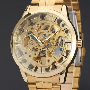 DCCKIX3 2015 New Brand Stainless Steel Band Automatic Mechanical Self Wind Watch Men Gold Skeleton Dress Watch Full Steel Watch ( Gold , Siliver )